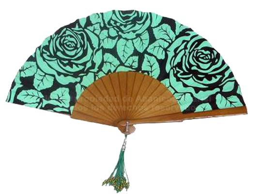 538 - Abanico Madera Estampado Flor
