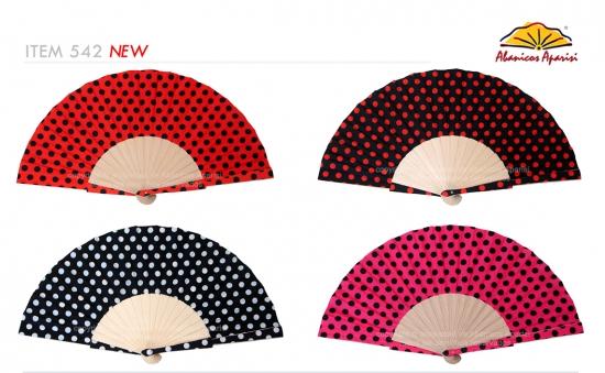 542 – Wooden fan polka-dot fabric + sticks