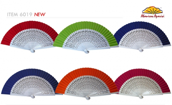 6019 - Wooden fan white openwork fabric colours