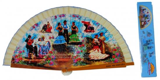 60200 - Abanicos de madera con diseños de Sevillanas, 6 diseños diferentes. Cada abanico viene con cajita individual con mismo motivo que el abanico