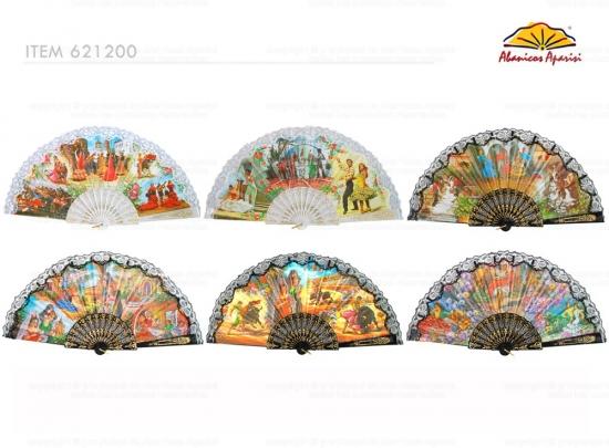 621200 - Pericon fan with lace sevillanas assorted design