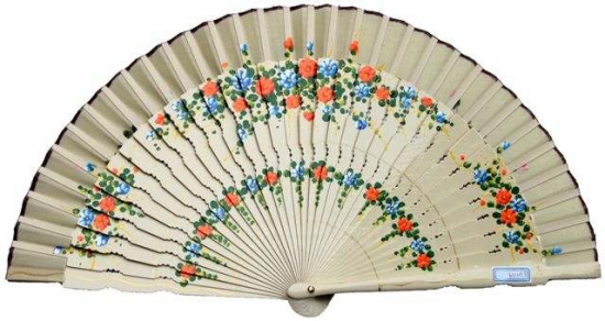 6311/A – special fretwork wooden fan hand painted floral design on 2 sides