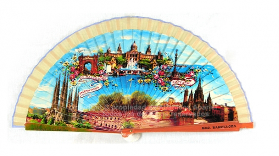 64087 – Wooden fan Barcelona. Includes individual box with the same decoration.
