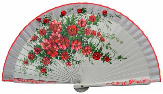 6612 – handbag fan floral design hand painted on 2 sides