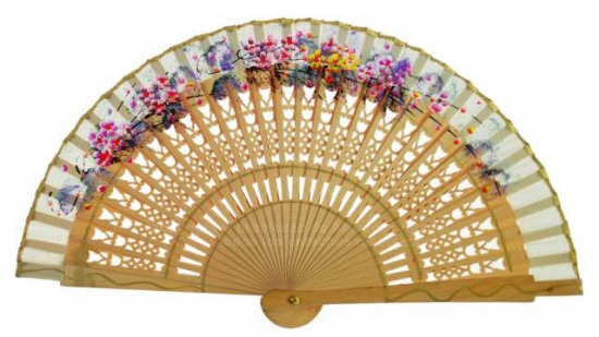 6613 – special fretwork wooden fan hand painted floral design