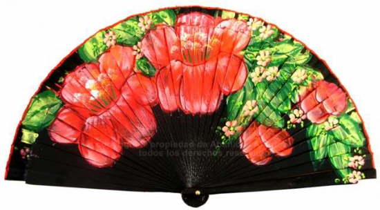 6621 – Wood fan, handpainted with floral deccor on two sides.