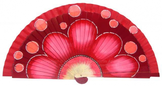 6635 – Wood fan hand painted on both sides.