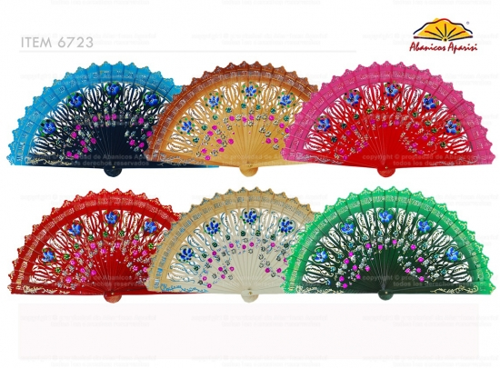 """6723 – assorted """"baraja"""" fans with floral design and painted on 2 sides"""