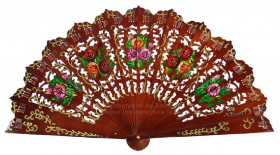 6726 – Elegant wood fan hand painted two sides.