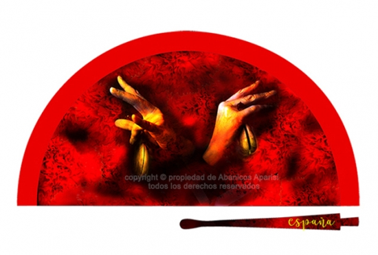 70197 - Abanico acrílico castañuelas manos