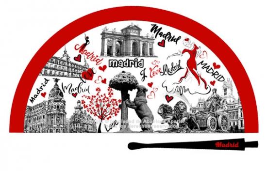 70213 – Acrylic fan Madrid drawing