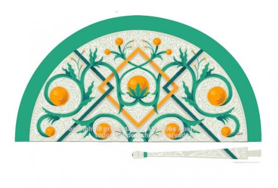 70237 - Abanico acrílico Valencia azulejo
