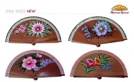 9433 - Abanico madera bubinga 1 cara flores